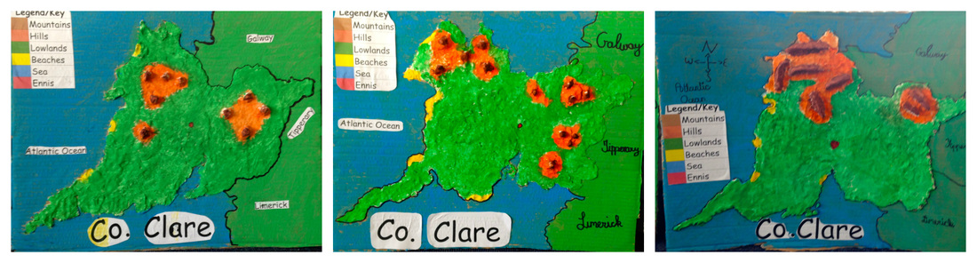 3D Salt Dough Maps of Co. Clare - Knockanean N.S. 4th Class